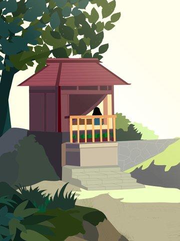 陽光正好扁平風場景插畫 插畫素材 插畫圖片