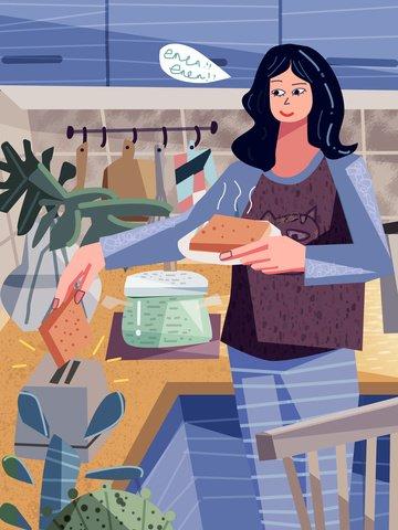 두꺼운 라인 소녀와 토스트의 오리지널 트렌드 삽화 이미지