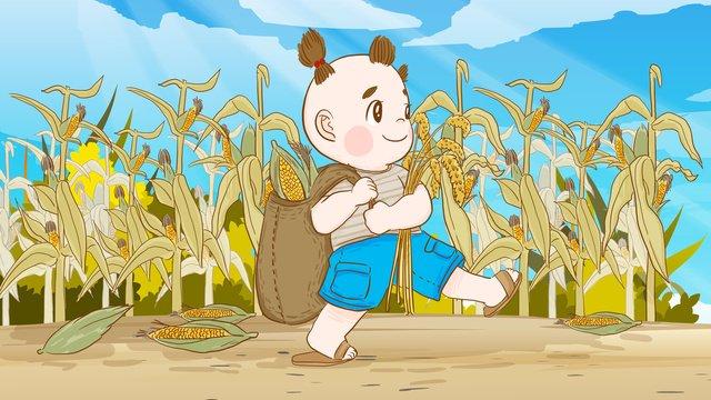 24ノット、秋、秋、トウモロコシ、トウモロコシ、手描きイラスト イラストレーション画像