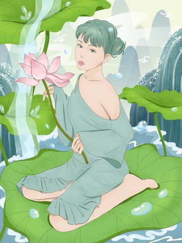 二十四節氣氣韻女神之大暑插畫 插畫素材
