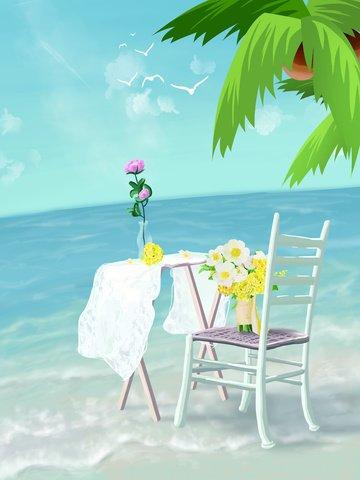 Original holiday seaside healing system illustration, Vacation, Seaside, Coconut Tree illustration image