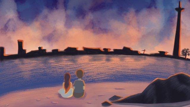 Dia dos namorados noite à beira mar casal ilustraçãoDia  Dos  Namorados PNG E PSD illustration image