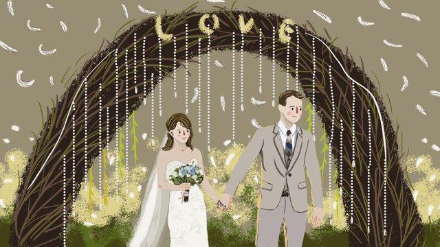 七夕バレンタインデーオリジナルイラストウェディングバレンタインデー  七夕  結婚式 PNGおよびPSD illustration image
