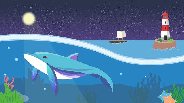 벡터 바다 고래 등대 삽화 소재 삽화 이미지