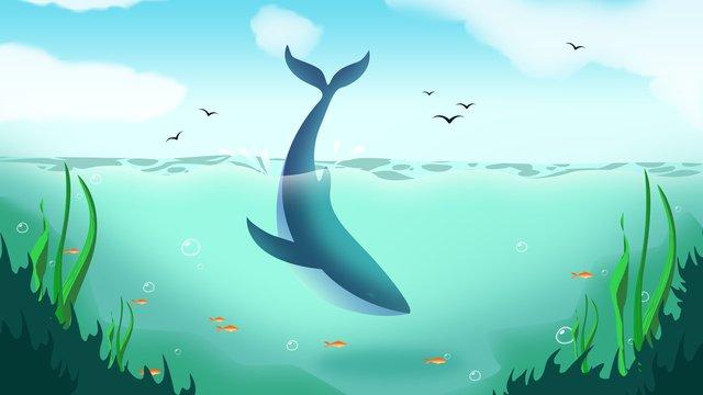 夏の海の世界への夏のクジラ治療システム図 イラスト素材 イラスト画像