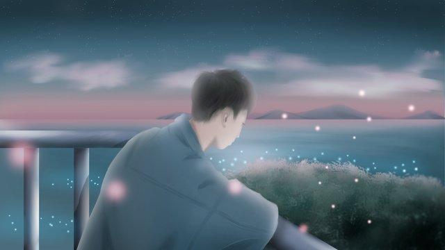 이른 가을 밤에 바다에서 경치를 보면서 소년 삽화 소재