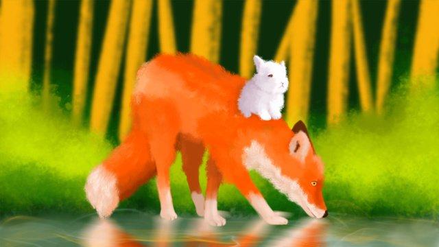 Ông fox trong loạt phim bailu và cô thỏ buổi sáng đi dạo rừngSương  Trắng  Mùa PNG Và PSD illustration image