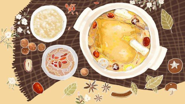 Winter food beauty red jujube chicken soup stew mushroom hand drawn illustration, Winter, Food, Winter Food illustration image