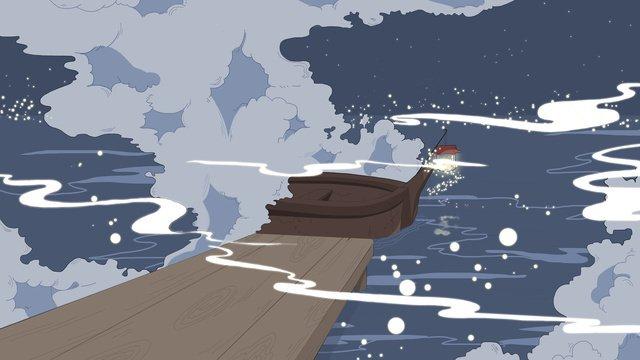 boat sea surface night scene lighting mood original illustration llustration image
