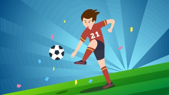 Football field kicking original illustration, World Cup, Game, Physical Education illustration image