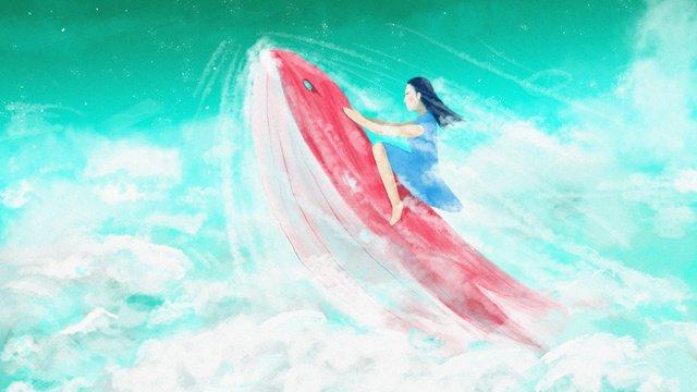 Rushing on the cloud whale girl healing original illustration llustration image illustration image