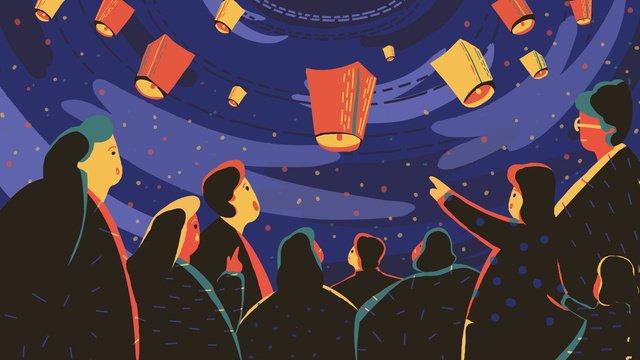 zhongyuan festival kongming lantern berdoa ilustrasi asal imej keterlaluan