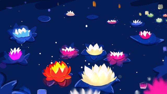 Фестиваль zhongyuan Река Фонарь lotus light Иллюстрация Ресурсы иллюстрации Иллюстрация изображения