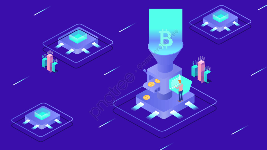 2 5d Internet Financial Blockchain Electronic Intelligence Technology Illustration, 2.5d, Intelligent, Electronic llustration image