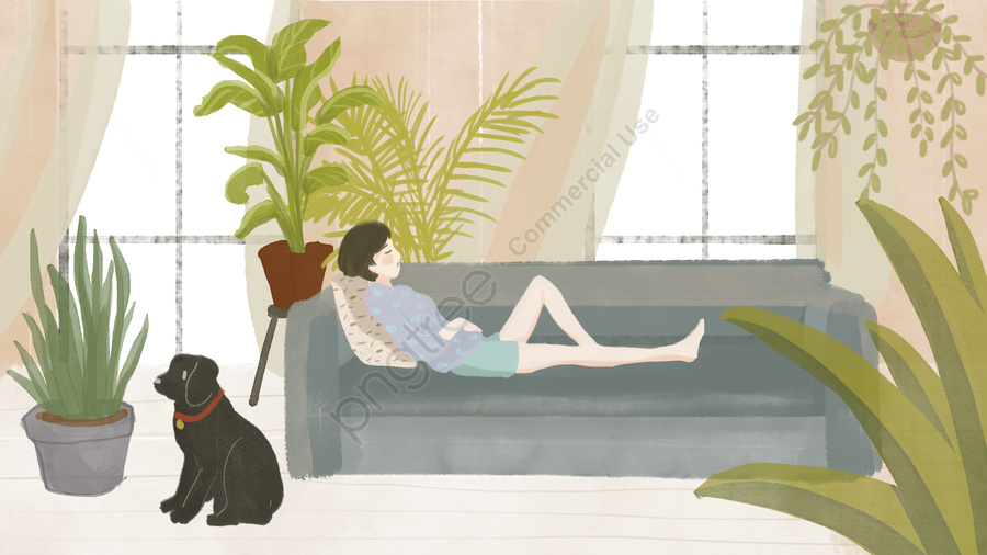 Afternoon Little Girl At Home Hand Drawn Illustration, Afternoon, Xiao Yan, Home llustration image