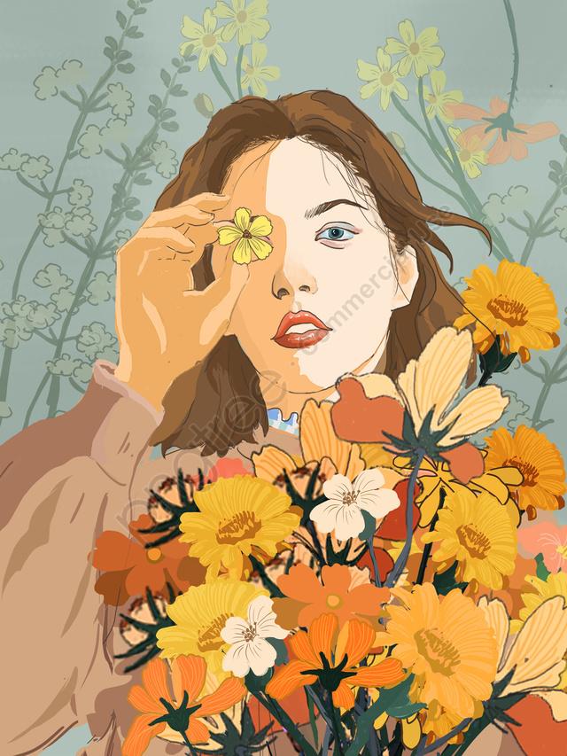 春の花束の女の子は新鮮で美しいイラストを治す, 美しい, 治療法, 新鮮な llustration image