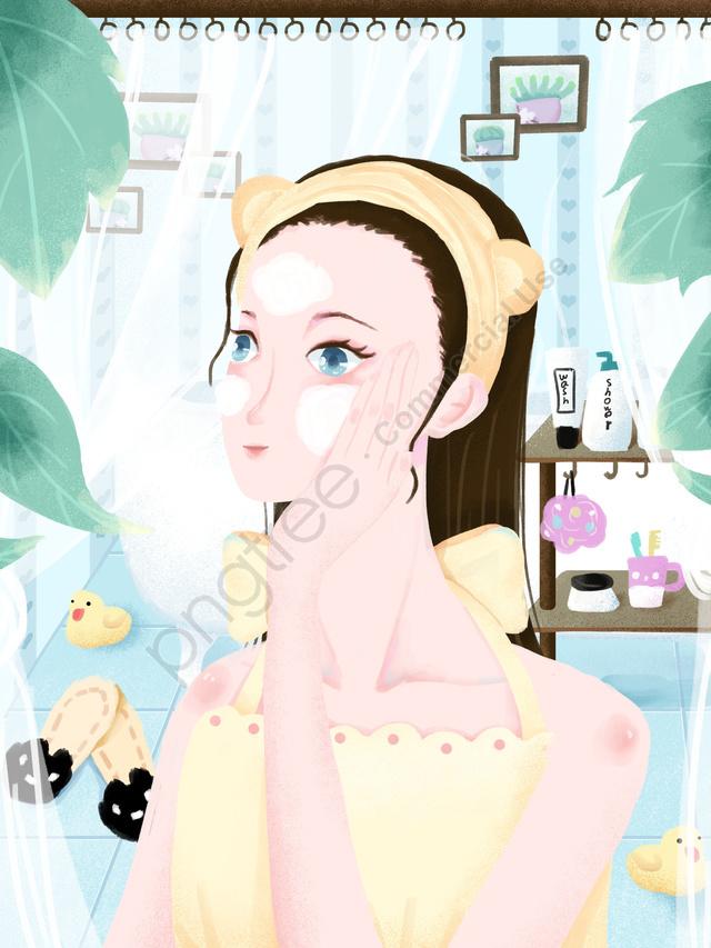 아름다움 스킨 케어 세차 소녀 작은 신선한 노이즈 질감 일러스트 레이션, 뷰티 스킨 케어, 얼굴을 씻으십시오., 작은 신선한 llustration image