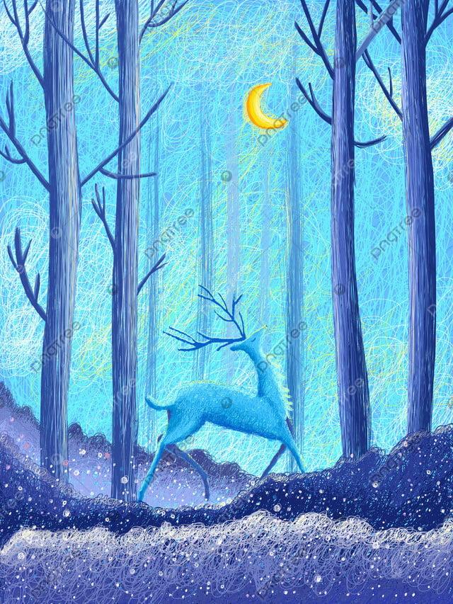 Coil impression forest and deer cure illustration, Blue, Forest, Deer llustration image