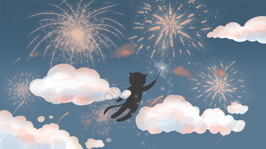 푸른 하늘과 흰 구름에 불꽃 놀이와 새끼 고양이, 푸른 하늘, 흰 구름, 푸른 하늘과 흰 구름 llustration image