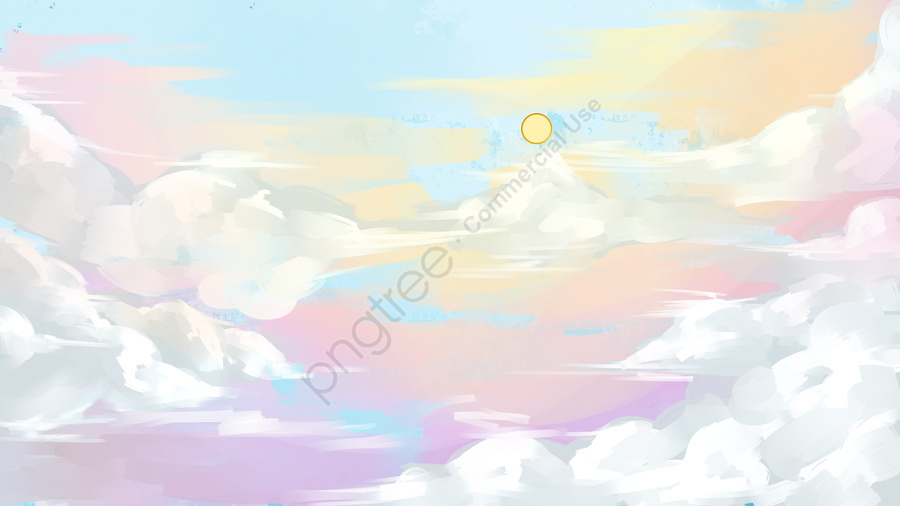 藍天白雲風景插畫, 藍天, 白雲, 風景 llustration image