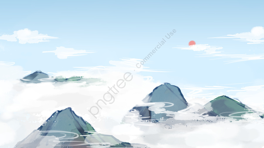 Mountain top white clouds landscape illustration, Blue Sky, White Clouds, Peak llustration image