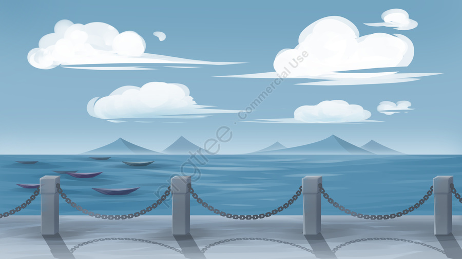 Seaside under blue sky and white clouds, Blue Sky, White Clouds, Seaside llustration image