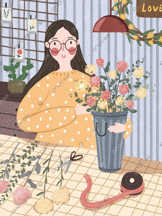 花束少女花フラワーアレンジメント少女漫画イラスト, ブーケ, 花, 小さい新鮮な llustration image