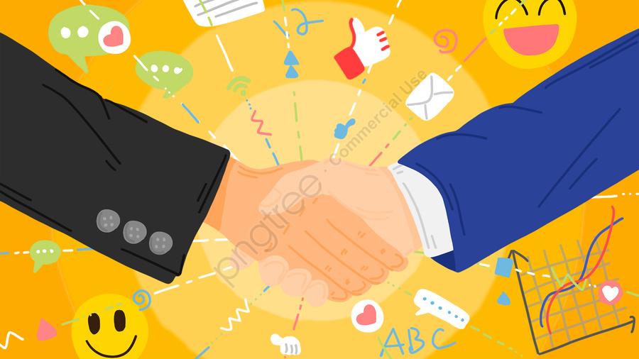 ビジネス交渉スーツ握手シンプルなイラスト, ビジネス, 事務所, ハンドシェイク llustration image