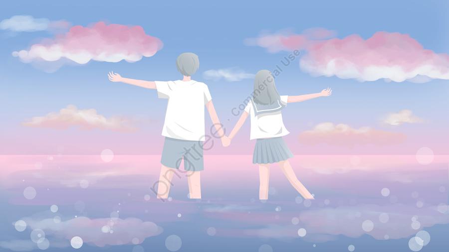 Campus couple japanese fresh illustration pink sunset seaside, Campus, Couple, In Love llustration image