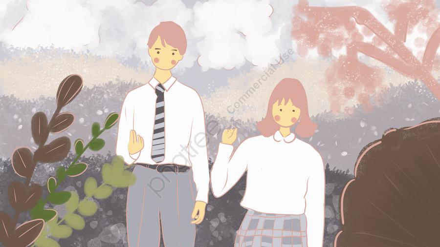 キャンパスの愛情の青春キャンパスの中の恋人同士, 公園, 唯美, 恋人 llustration image