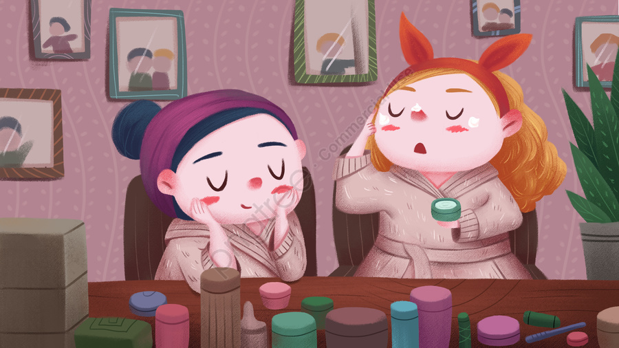 Warm And Lovely Girlfriends Skin Care, Cartoon, Girl, Skin Care Products llustration image