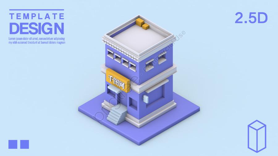 25d Cartoon House Model Making Illustration Image On