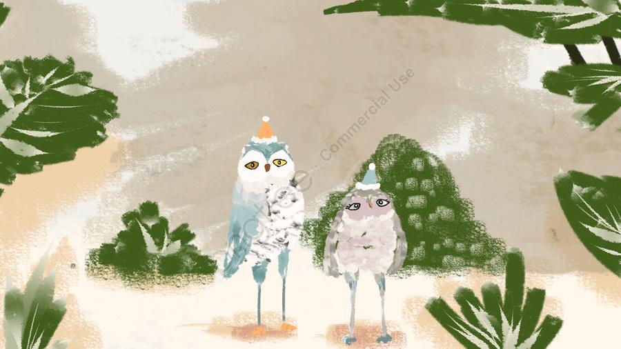 손으로 그린 된 빈티지 텍스처   올빼미 동물 식물, 어린이 그림, 장식 그림, 초록 llustration image