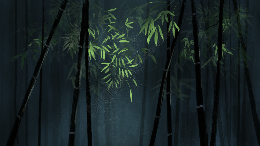 Chinese Style Original Bamboo Green Illustration Background With Map, Chinese Style, Bamboo, Original llustration image