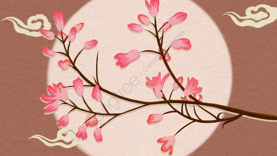 中国風の静物植物の花の手描きのポスターイラストの壁紙, 中華風, 手描き, ポスター llustration image