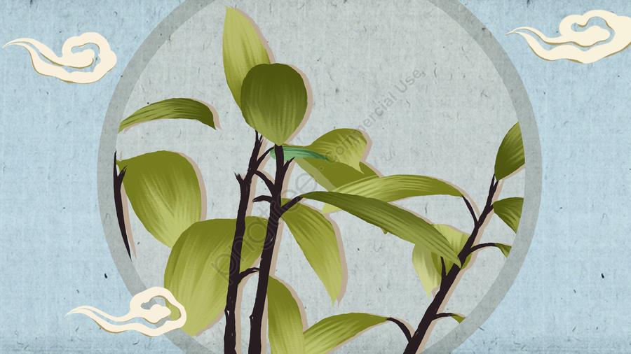 中国風の静物画植物手描きポスターイラスト壁紙, 中華風, 手描き, ポスター llustration image