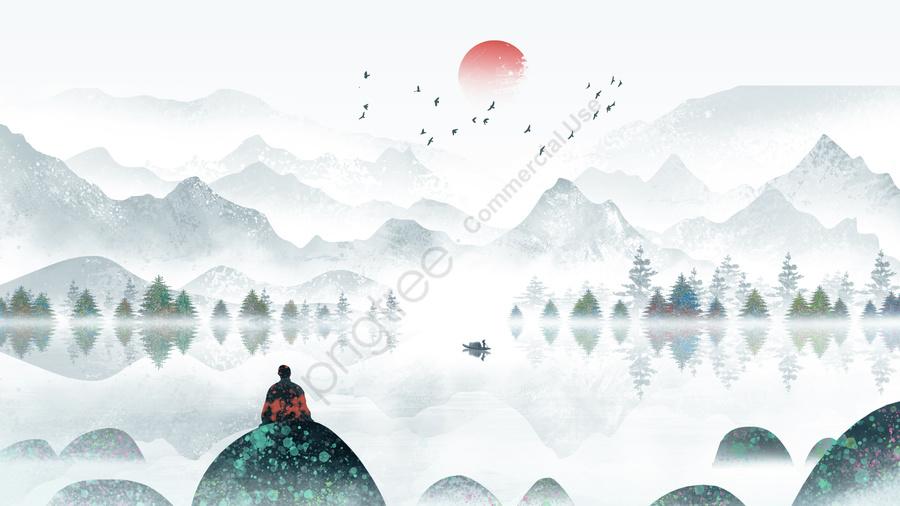 Nước Từ Trên Núi Chảy Xuống Nước Từ Trên Núi Chảy Xuống Cổ điển Trung Quốc Phong Thuỷ Mặc Thuỷ Mặc Cảnh Màu Nước, Trung Quốc Phong, Cắt Hình, Cổ điển llustration image