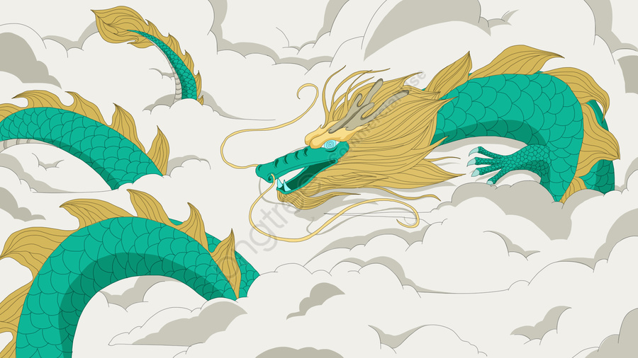 Chinese Style Dragon In The Sky Cloud Illustration, Chinese