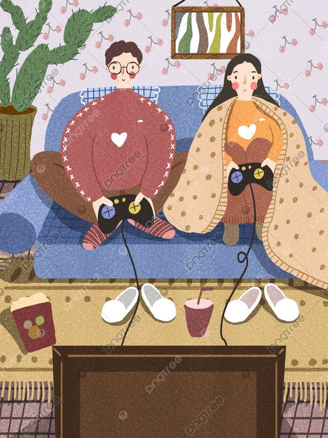 Couple Winter Sitting On The Couch Playing Games, Couple, Winter, Play Games llustration image