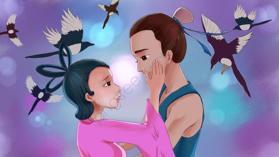 Ilustração De Dia Dos Namorados Menina Qixi Niu Lang Weaver, Cowherd E Tecelão, Amor, Conheci llustration image