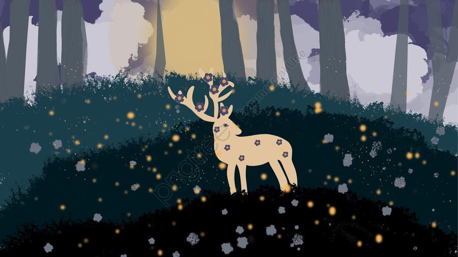 夏天夜晚林中的鹿, 治愈, 鹿, 夏天 llustration image
