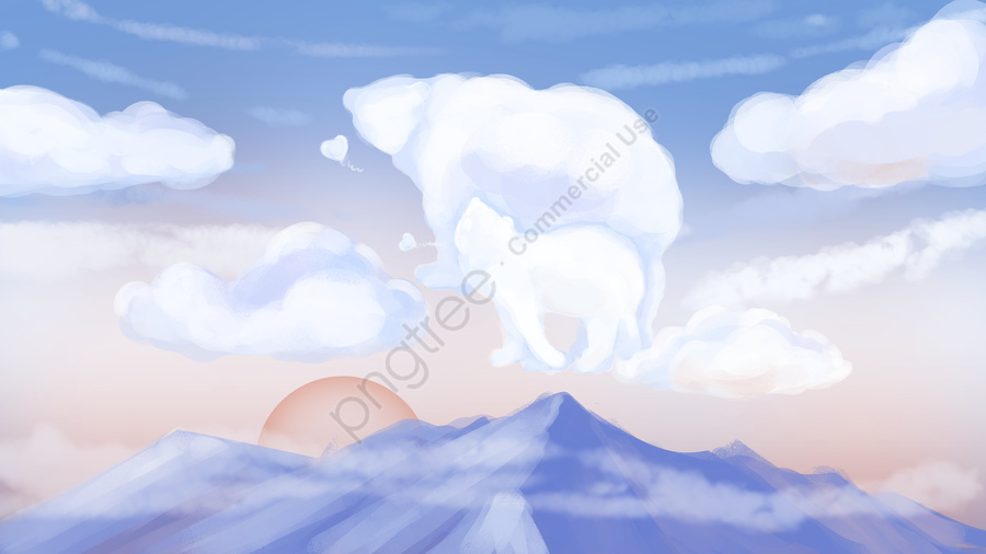 Original hand-painted yesterday blue sky blank clouds and mountains, Day, Blue Sky, White Clouds llustration image
