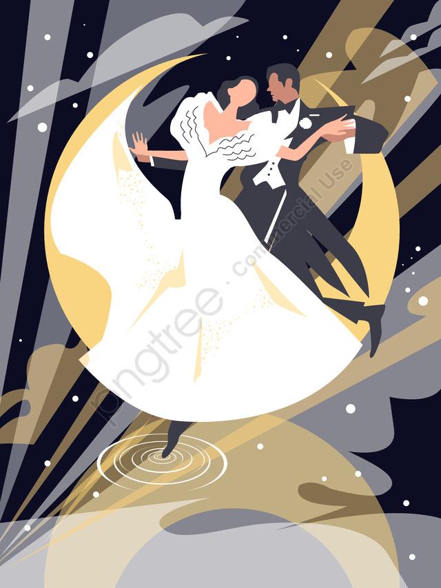 Двойные танцы в лунном свете, двойной, танец, лунный свет llustration image
