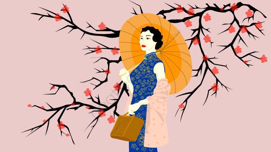 Elegant cheongsam woman illustration, Elegant, Beautiful, Woman llustration image