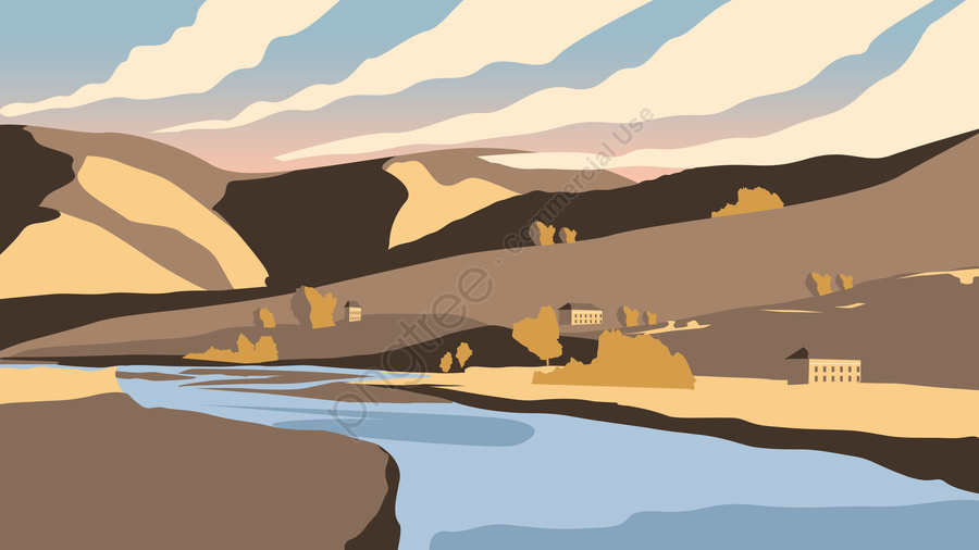 イラスト秋の山間のあぜ, 8月, 雲, 山 llustration image