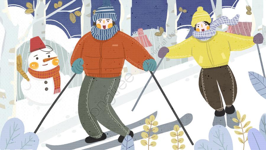 Flat Wind Hand Drawn Winter Scene Skiing Illustration, Flat Wind, Hand Painted, Winter Scene llustration image