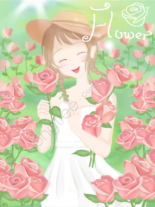 Cartoon Illustration Of Girl Holding Flowers In The Sea, Flower, Girl, Bouquet llustration image