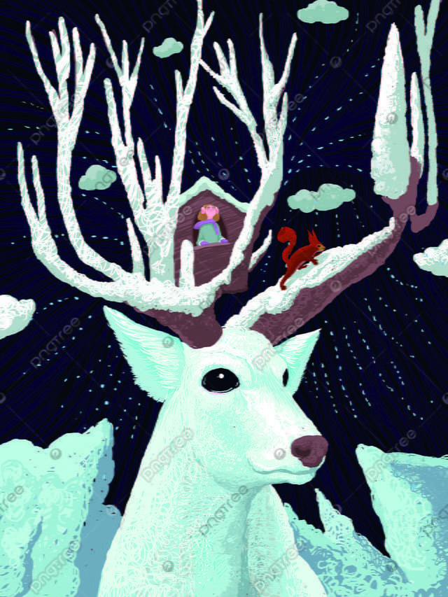 Coil cure system forest and deer wonderful starry sky cartoon illustration, Forest And Deer, Coil, Cure llustration image