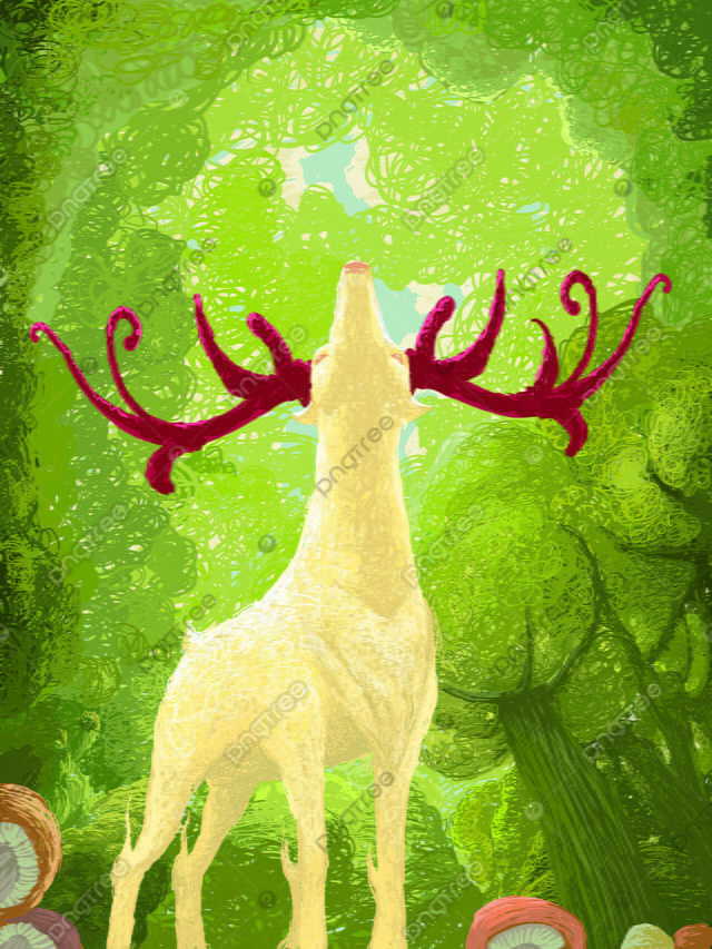 Forest And Deer Coil Healing System Cartoon Illustration Looking Up, Forest And Deer, Illustration, Cartoon llustration image
