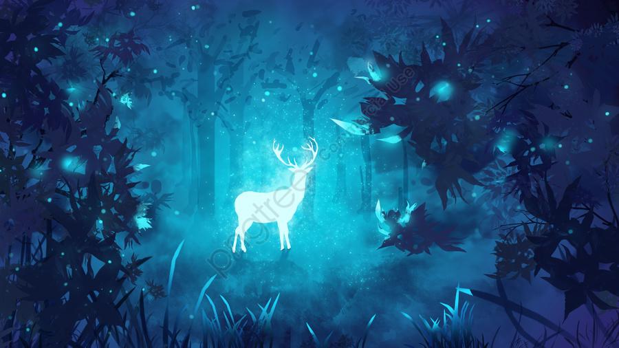मूल चित्रण चिकित्सा वन गहरा हिरण देखें, प्रकाश और छाया, सुंदर, स्टारलाईट llustration image